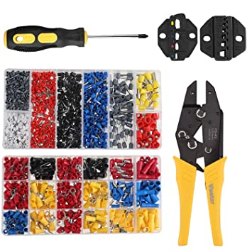 Ratchet Crimper Plier Crimp Terminals Connectors 1170pcs for 22-10AWG Vastar Insulated Wire Terminals Crimping Tool