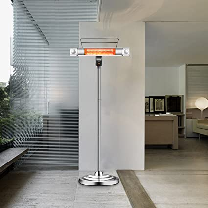 Sundate Electric Patio Heater, Infrared Heater With 2 LED Lights And Remote  Control, Indoor