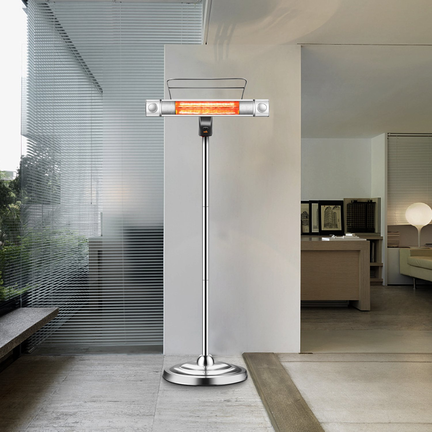 Sundate Electric Patio Heater, Infrared Heater with 2 LED Lights and Remote Control, Indoor/Outdoor Standing Heater, TH15LR
