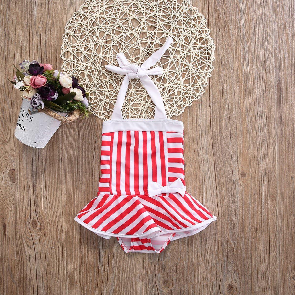 WALLARENEAR Kids Toddler Baby Girls Swimwear Off-Shoulder One Pieces Swimsuit Bathing Suit Bikini Set Outfits Summer