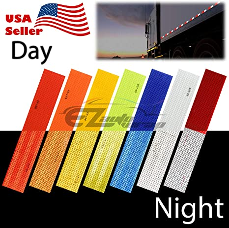 Neon Yellow DOT-C2 Conspicuity Reflective Tape Strip 1 Foot Safety Warning RV