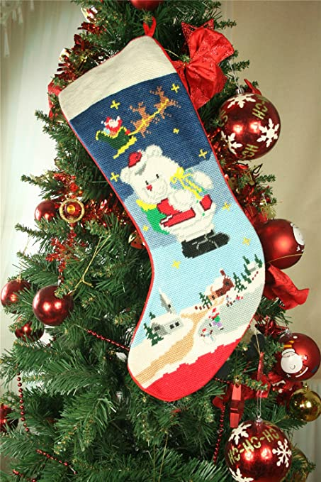 unique handmade wool needlepoint santa bear christmas stocking