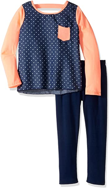 f5b71dd4471 Amazon.com  Kidz Concepts Little Girls  Long Polka Dot with Jersey Sleeve  Shirt with Legging Set