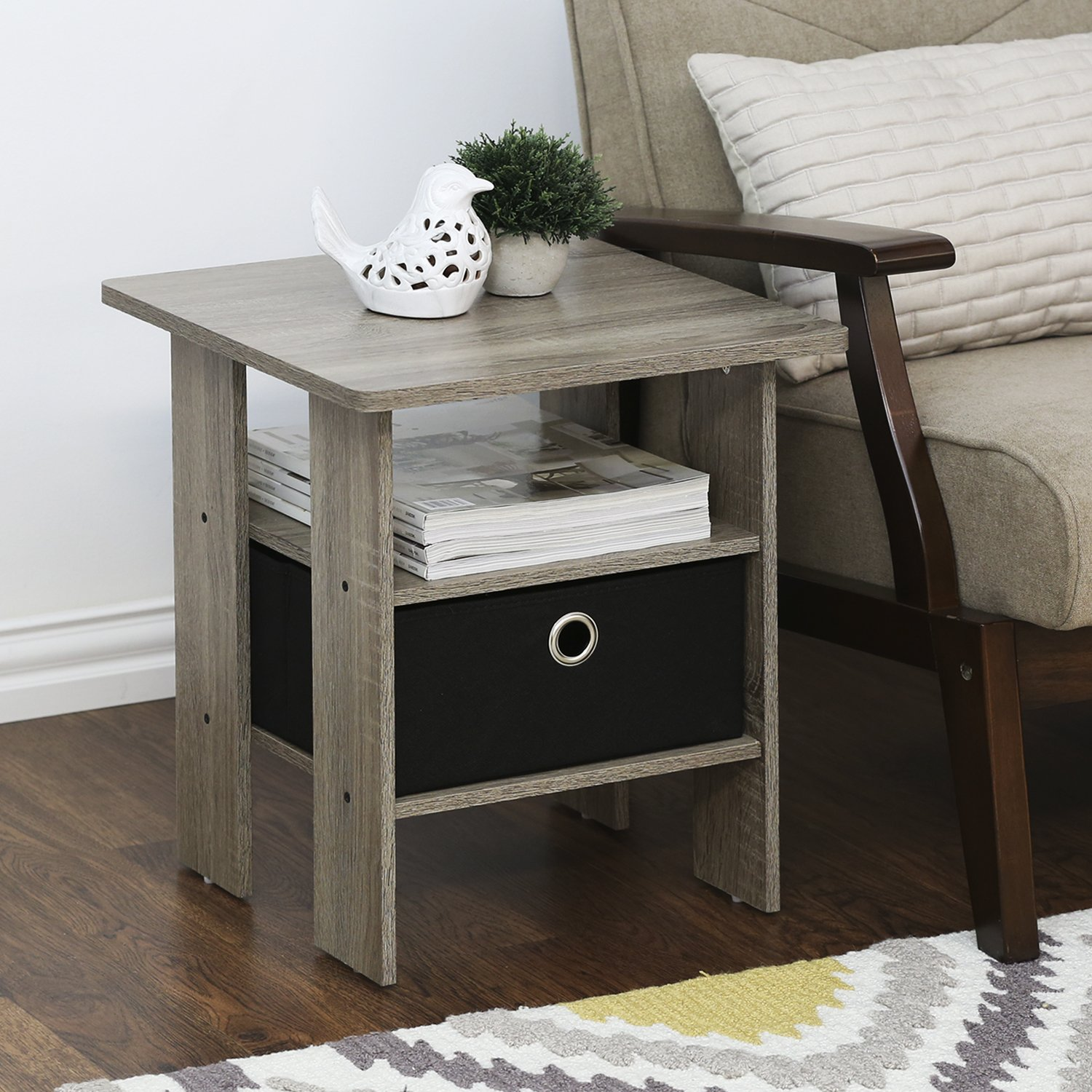 Amazon FURINNO GYW BK End Table Bedroom Night Stand W