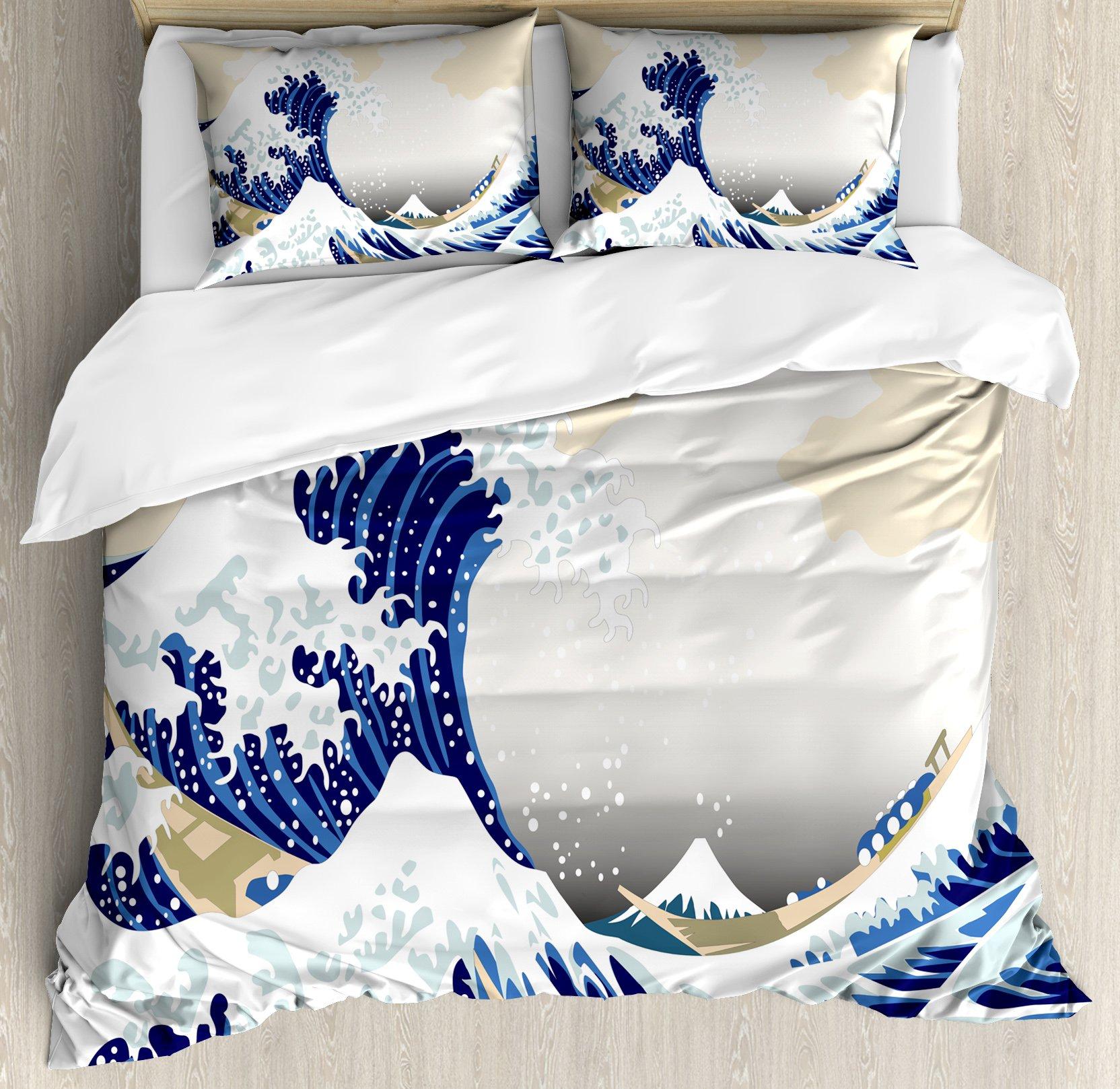 Lunarable Wave Duvet Cover Set Queen Size, Hokusai Pattern Japanese Ukiyoe Themed Asian Oriental Sketch Style Ocean, Decorative 3 Piece Bedding Set with 2 Pillow Shams, Navy Blue Beige White