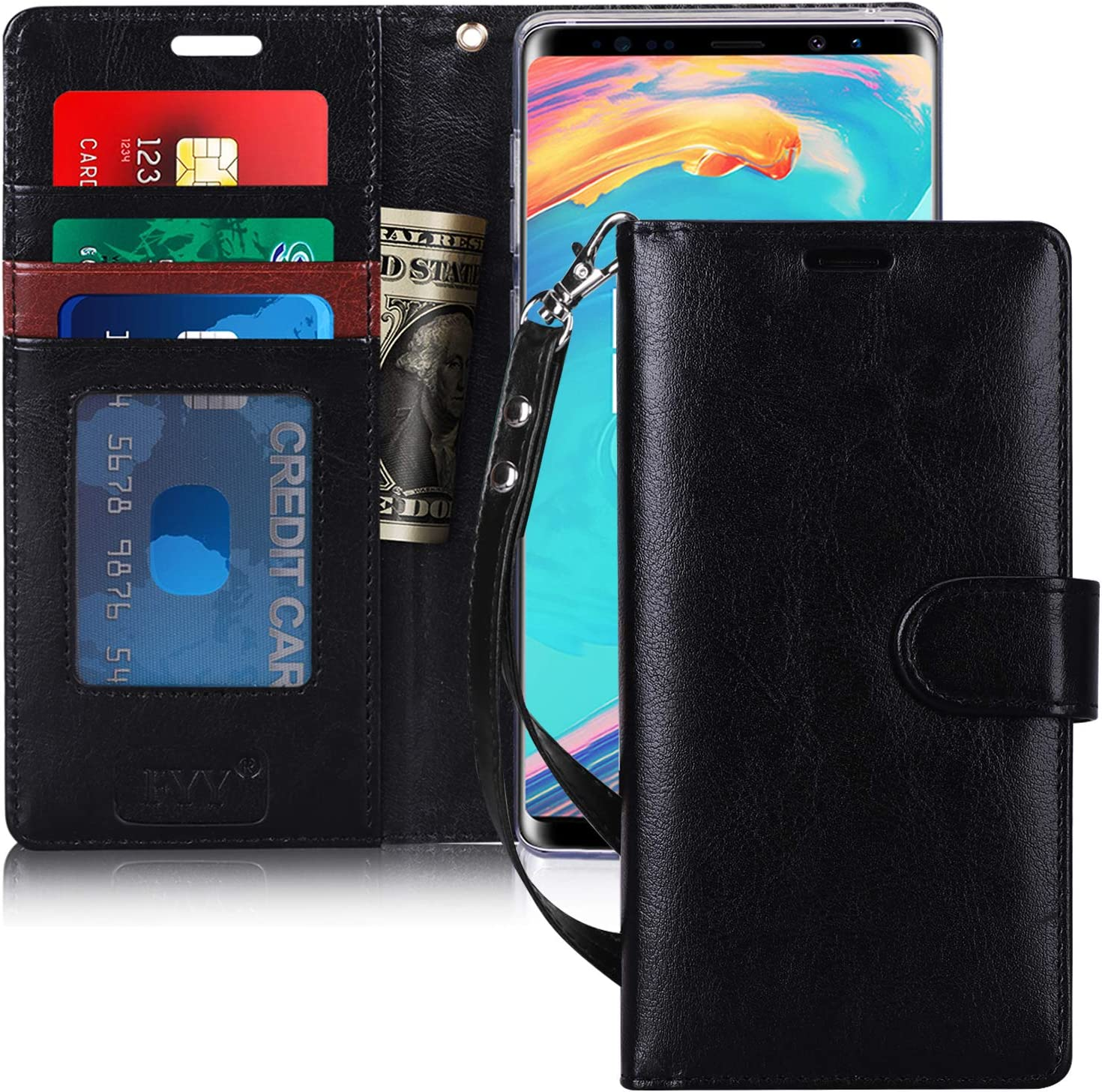Samsung Galaxy Note9 Flip Case Cover for Leather Card Holders Premium Business Kickstand Wallet case Flip Cover