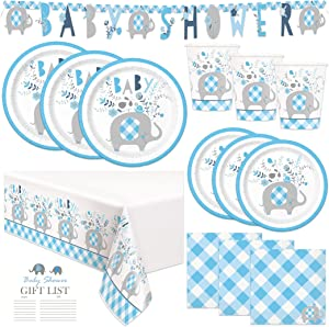 Blue Boy Elephant Baby Shower Party Supplies and Decorations - Serves 16 Guests - Blue Elephant Theme for Baby Boys, Easy Setup and Takedown with Banner, Table Cover, Plates & More