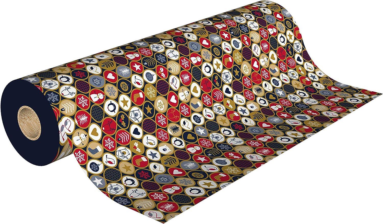 les couleurs de lemballage Rouleau Papier Cadeau 0,70 x 50m 9033HU50M Rouge Blanc et Or Marine
