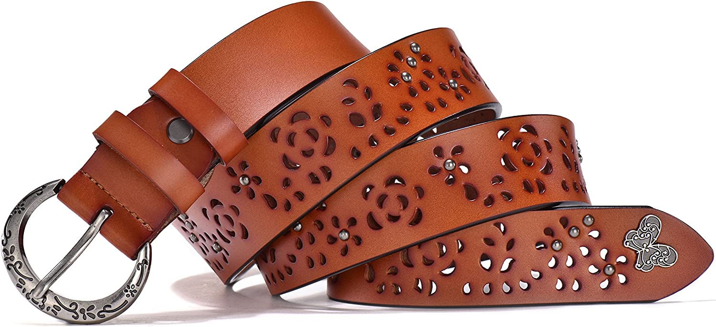 L, Max pants size 41, Width: 1.25, Reddish TUNGHO Vintage Genuine Leather Belts For Women Hollow Strap Crescent Needle Buckle 2 Width Options Plus Size XXXL