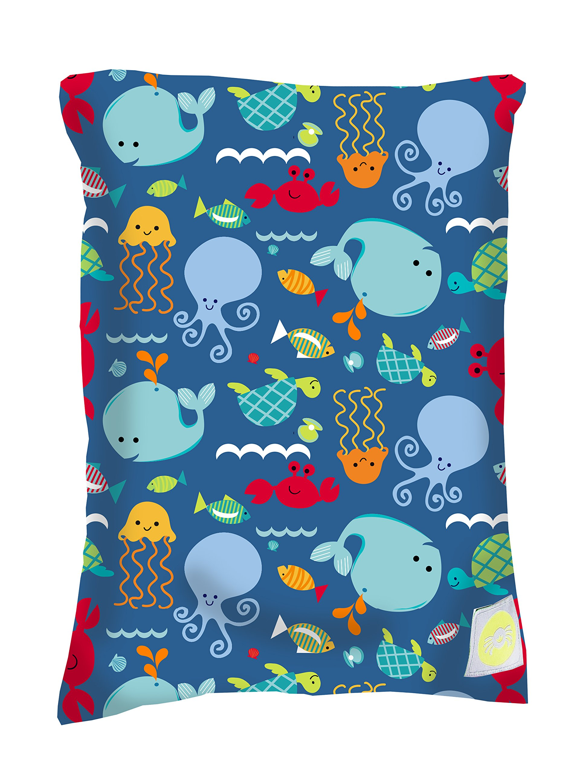Itzy Ritzy Sealed Wet Bag - Washable and Reusable Wet Bag with Water Resistant Lining Ideal for Swimwear, Diapers, Gym Clothes & Toiletries; Measures 11'' x 14'', Under the Sea by Itzy Ritzy