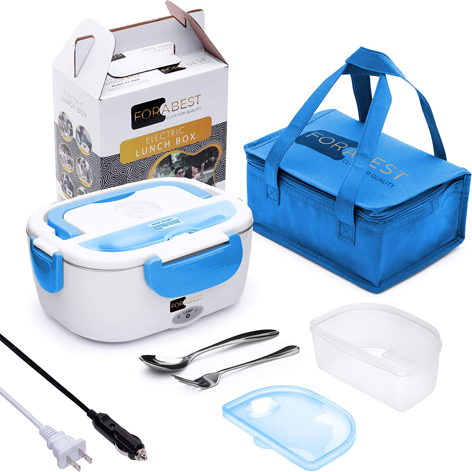 Electric Lunch Box Food Heater - FORABEST 2-In-1 Portable Food Warmer Lunch Box for Car & Home – Leak proof, 2 Compartments, Removable 304 Stainless Steel Container, SS fork & spoon and Carry Bag
