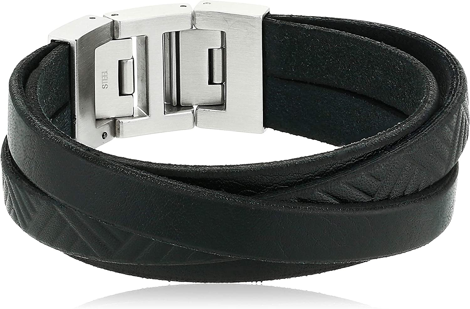Fossil Men's Casual Stainless Steel and Genuine Leather Bracelet
