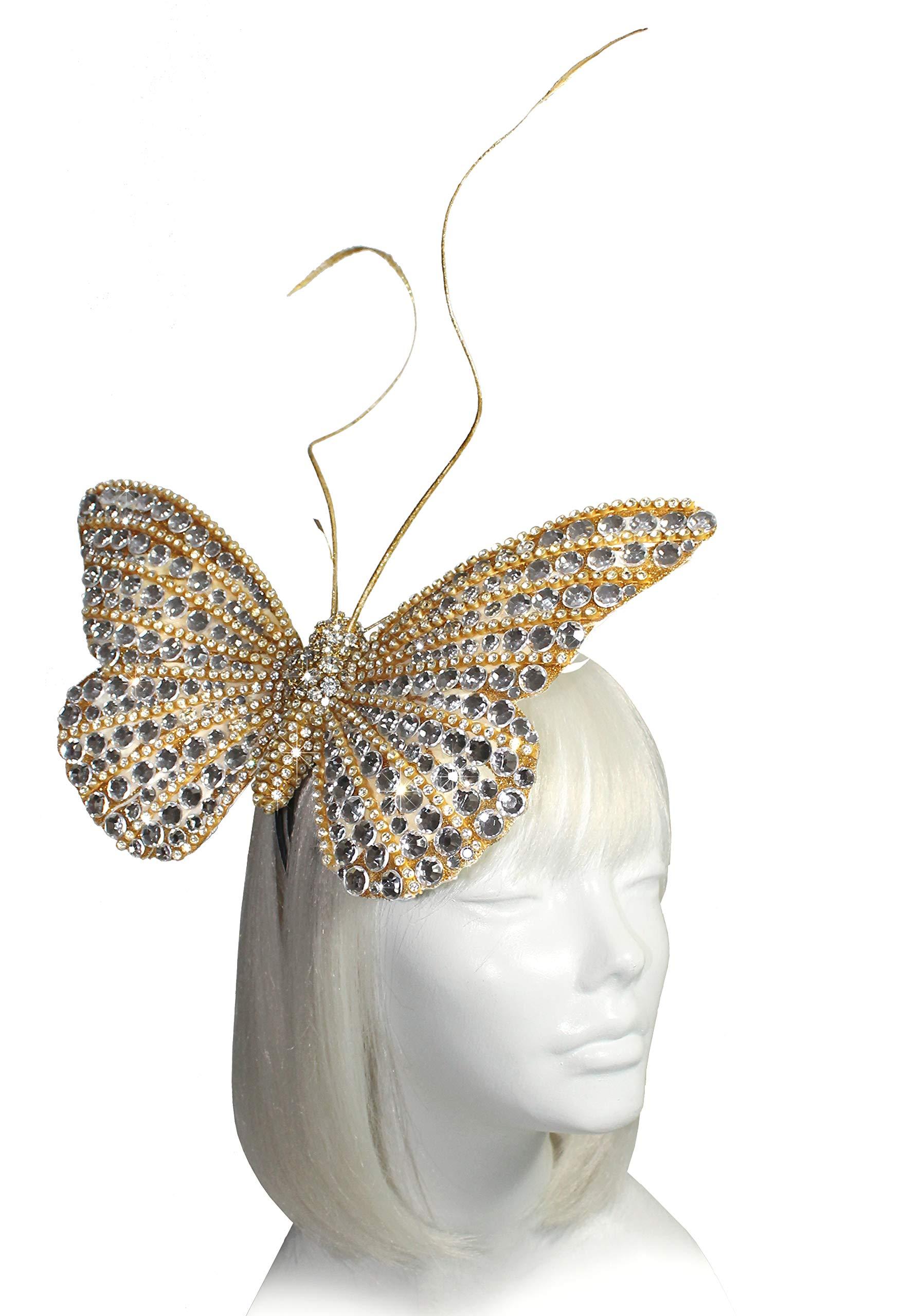 Mr. Song Millinery Papillon Profile Fascinator Headband AF59 Gold