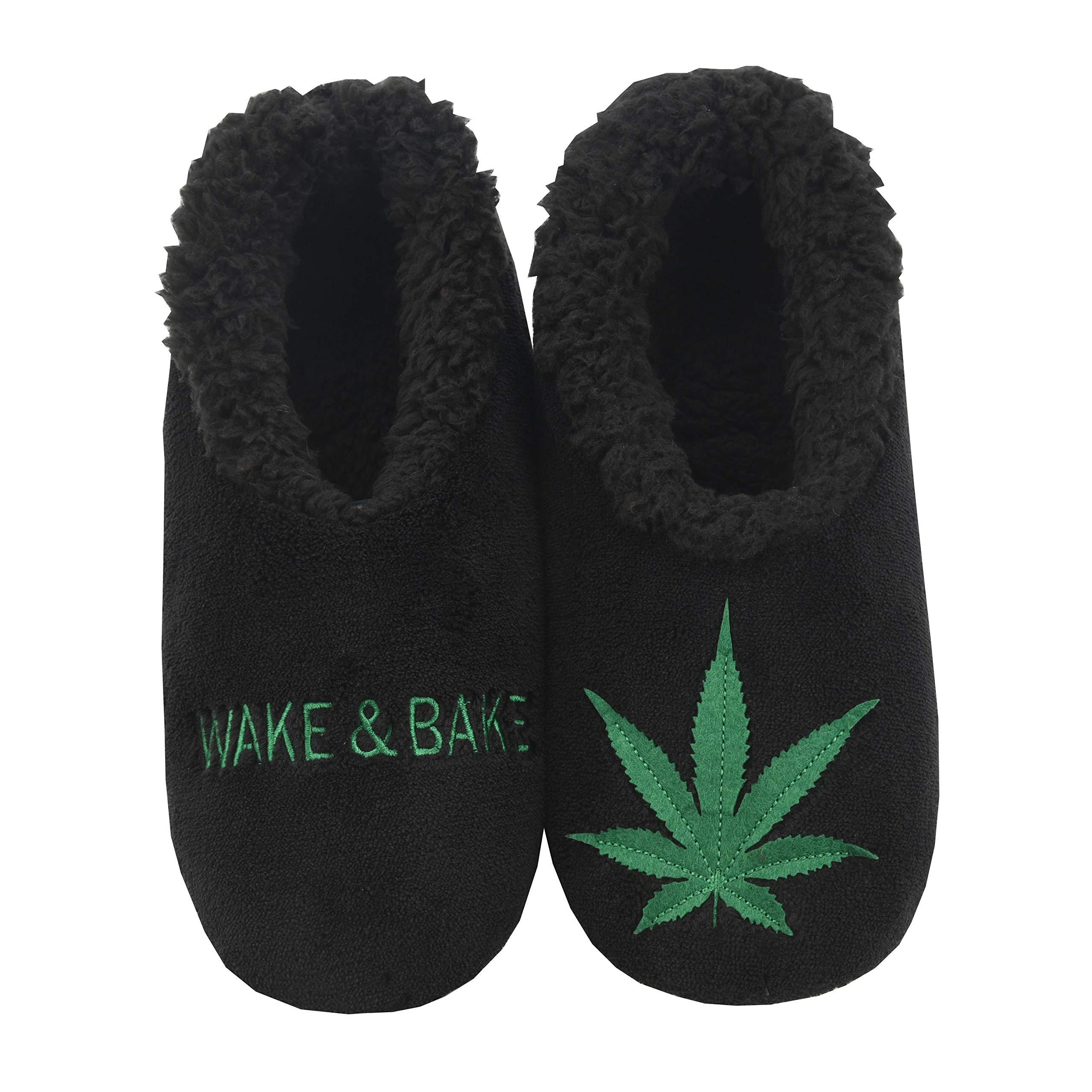 Snoozies 420 Mens Slippers | Slippers for Men | Wake & Bake | Large