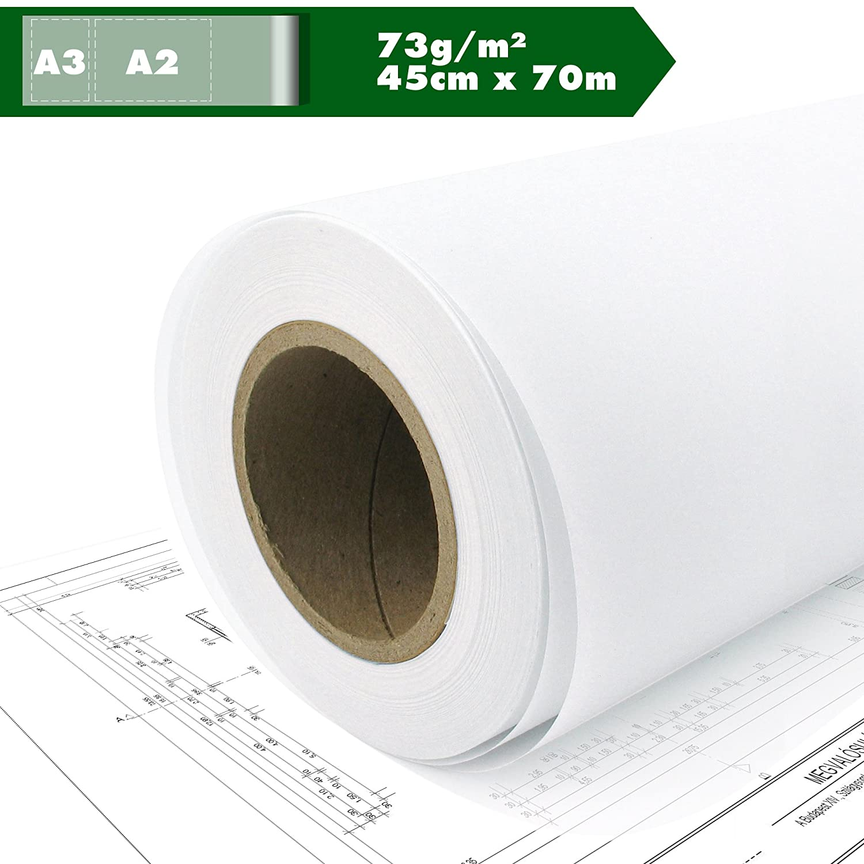 Skizzenpapier Skizzenrolle Transparentpapier Seidenpapier Tracing paper pauspapier A2 A3 73g//m/² 45cm x 70m