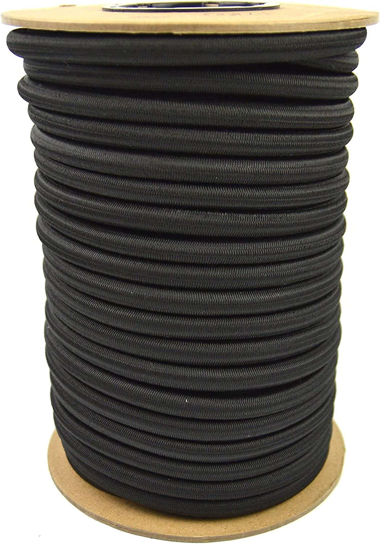 100 Feet Marine Masters 100ft 1//2 Inch Black Bungee Shock Cord