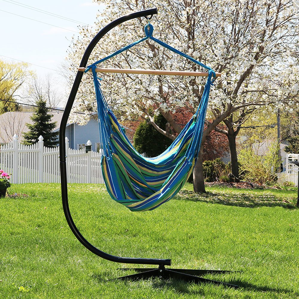 Sunnydaze Jumbo Extra Large Hanging Hammock Chair Swing with C-Stand, Indoor Outdoor Use, 300-Pound Weight Capacity, Ocean Breeze