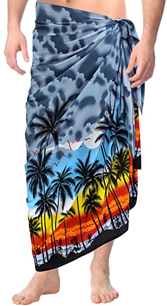 fcccbbfcf247d LA LEELA Soft Light Printed Casual Beach Resort Pareo Boy Wrap 72