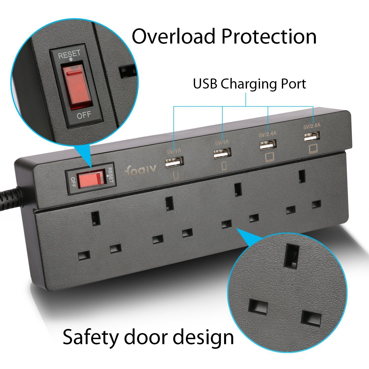 1.8 Metre Extension Cord with Fuse Surge Protection Applicable for Appliances 4 Way Foaiv USB Power Strip with Overload Switch Charging Smart Phone Tablet Extension Lead with 4 USB Ports Black