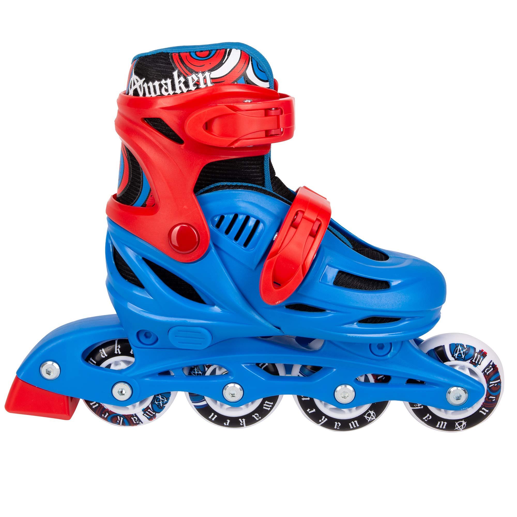 C SEVEN Adjustable Size Inline Roller Skates (Blue, Youth 13- Kids 3)