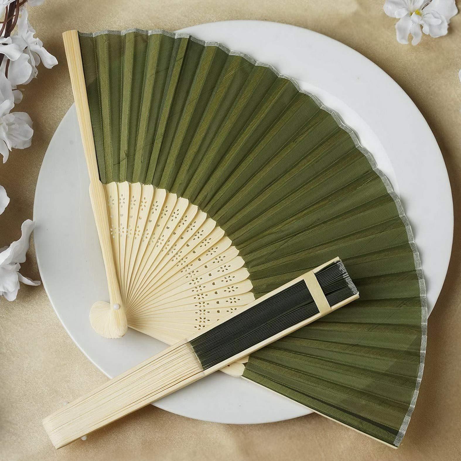 Mikash 50 pcs Silk Fabric Folding Hand Fans Wedding Party Favors Wholesale Decorations   Model WDDNGDCRTN - 17682  