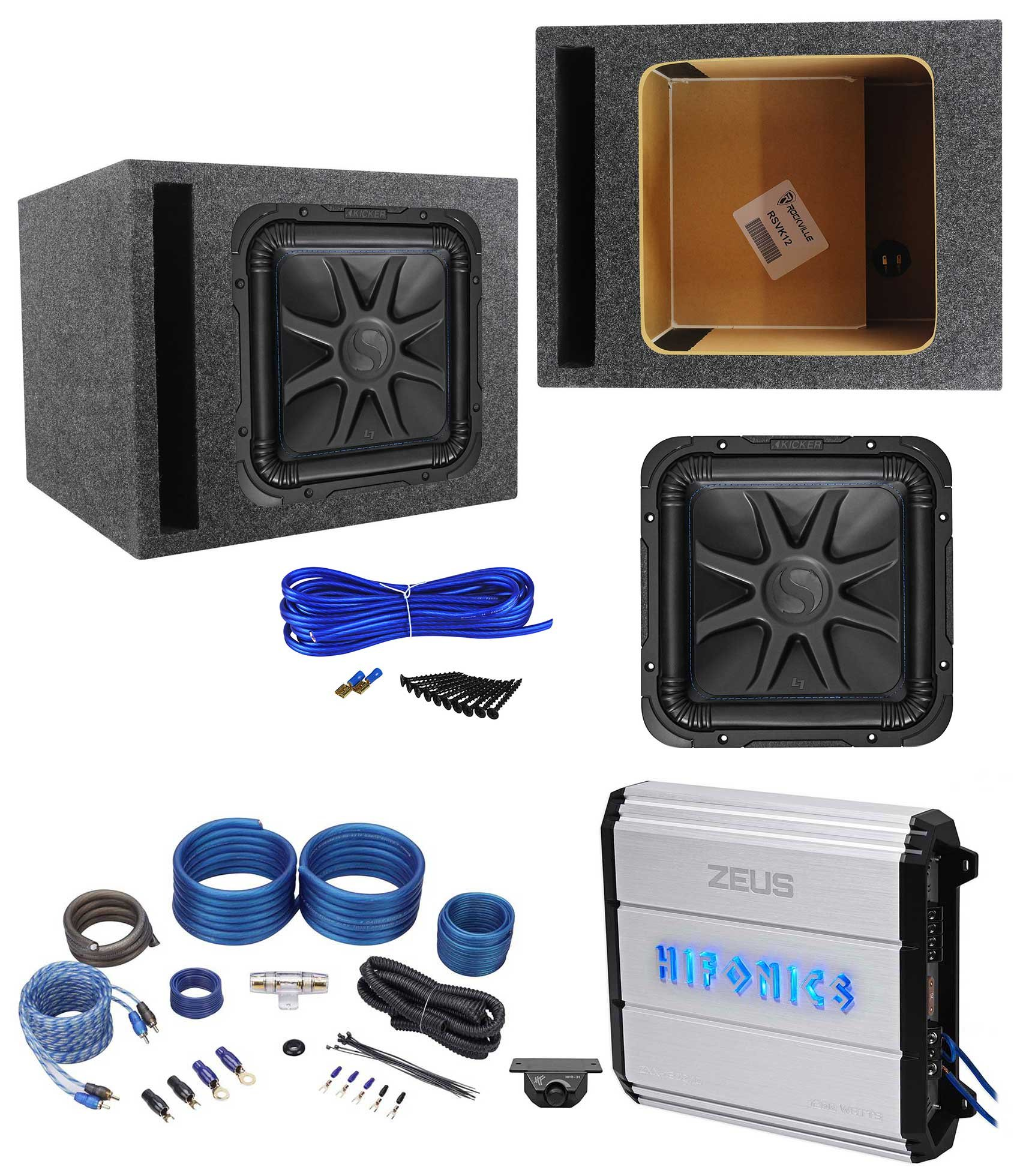 Kicker L7S122 12'' 1500w Solobaric L7S Subwoofer+Hifonics Amp+Vented Box+Wires