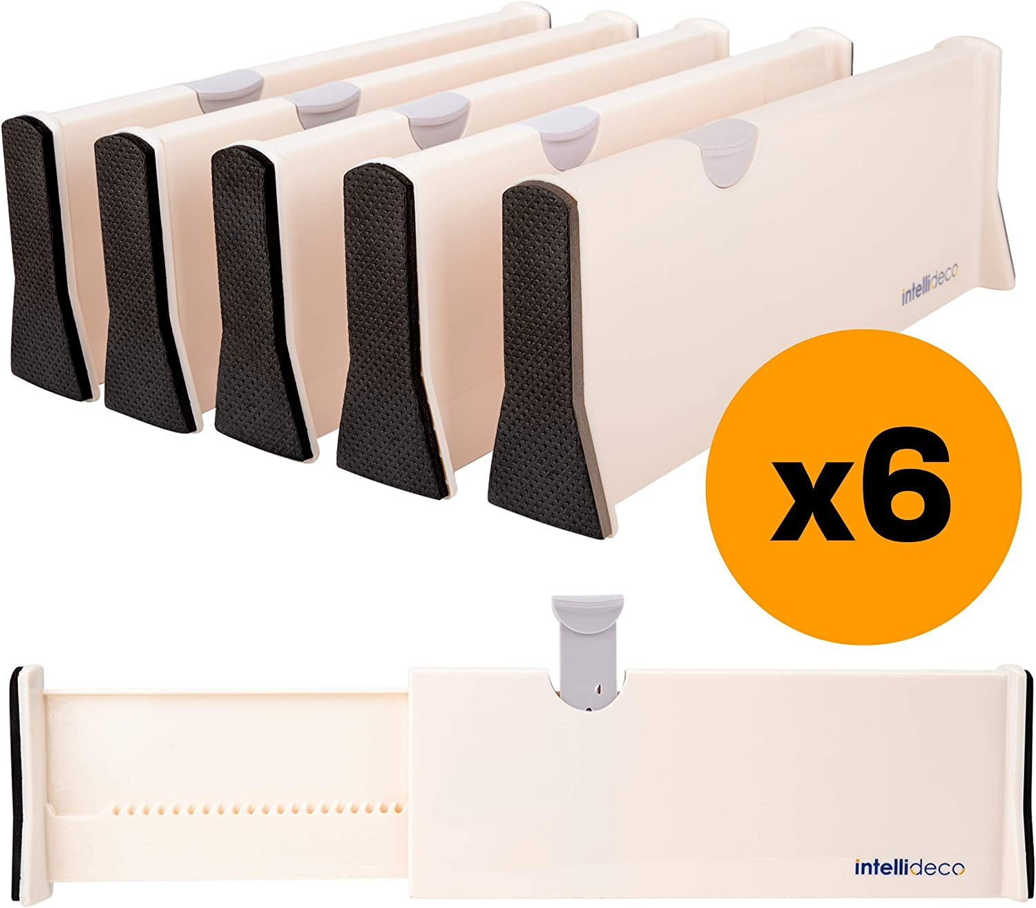 """Intellideco Drawer Dividers Organizers, 6 Pack, Expandable Drawer Divider from 11"""" to 17"""" and 4"""" High, Adjustable Separators Perfect for Bedroom, Dresser, Kitchen and Office Use"""