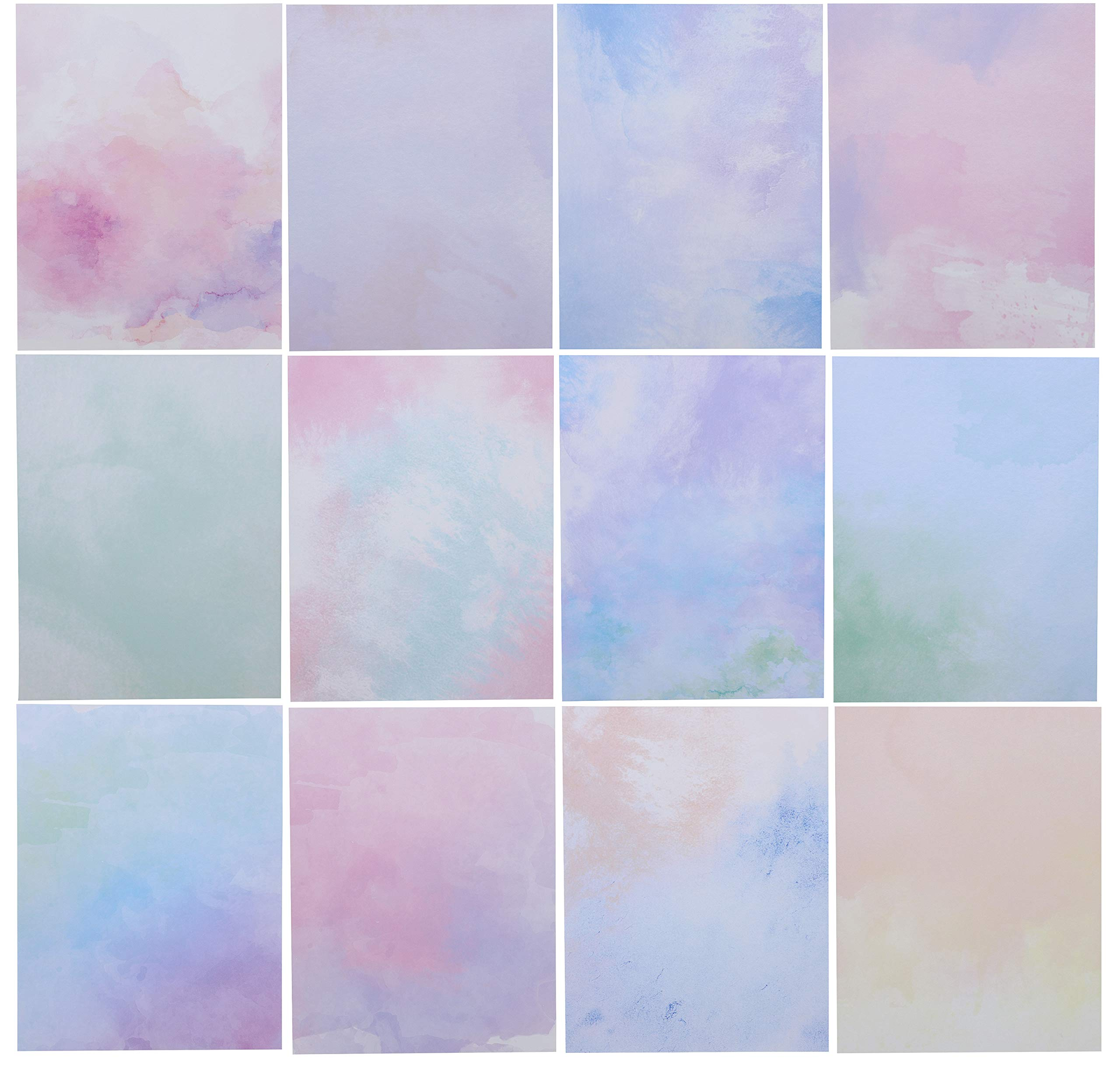 Paper Junkie Stationery Paper (96 Sheets) Double Sided, 12 Watercolor Designs by Paper Junkie