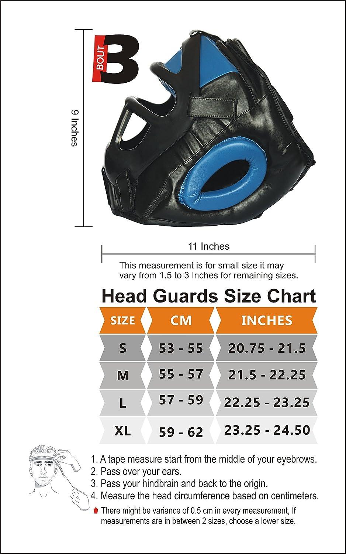 Blu 21100 L BOUT3/stylisch MMA Protezione per la Testa per Muay Thai Kickboxing UFC Sparring Formazione Krav Maga Sport da Combattimento Griglia di Protezione Regolabile e Viso Pieno Copricapo