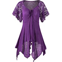Inorin Womens Plus Size Tunics Long Tunic Tops Short Sleeve Summer Casual Shirts with Lace Sleeve