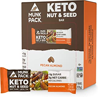 product image for Munk Pack Keto Nut & Seed Bar, 0g Sugar, 2g Net Carbs, Keto Snacks, No Added Sugar, Plant Based, Gluten Free, Soy Free (Pecan Almond 12 Pack)
