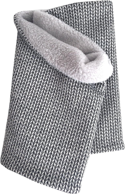20170401 Wollhuhn Warmes Halstuch Schal mit Maschenmuster KNIT silbergrau f/ür M/ädchen und Jungen Schlupfschal