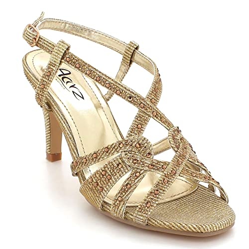 6bdd6a486a2b AARZ LONDON Womens Ladies Sparkly Crystal Diamante Evening Wedding Party  Bridal Prom Ankle Strap High Heel