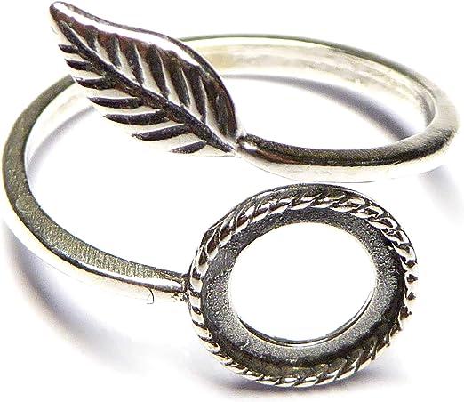XieXie 2 STK. 925 Sterling Silber Ring Rohlinge oxidiert Blatt mit 8mm Fassung Schmuck basteln