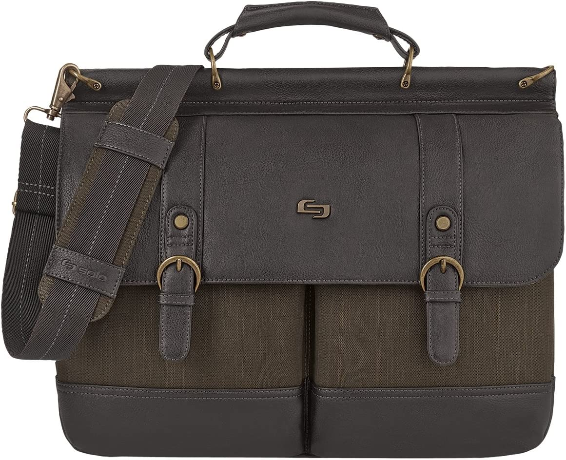 Solo Thompson 15.6 Inch Briefcase with Padded Laptop Compartment, Brown