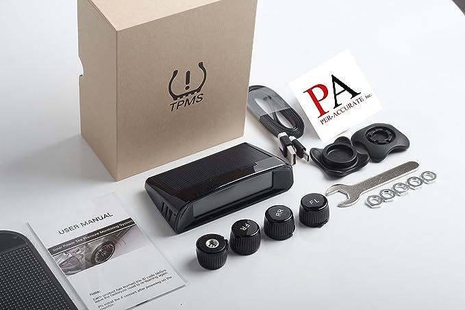 Pa Juego de Monitor de presión de los neumáticos, auto Wireless Solar batería digital medidor de presión de los neumáticos sistema de vigilancia de ...