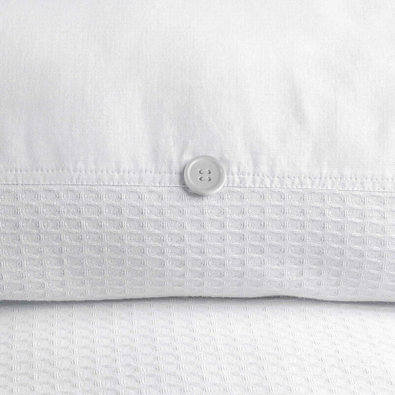 Blanc 140 x 200 cm 100/% Coton 1 x 63 x 63 cm Nimsay Home Parure de lit 100/% Coton gaufr/é