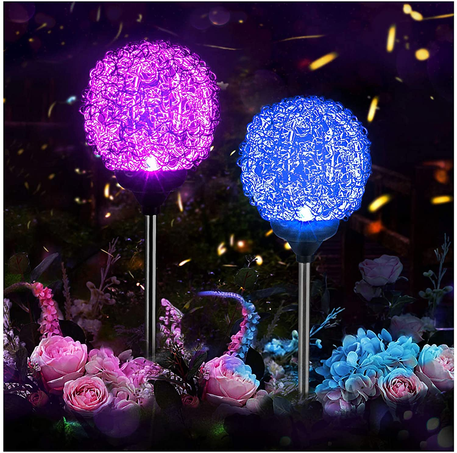 Solar Garden Lights Outdoor, Upgraded Magic Globe Powered Garden Light, Multi-Color Changing LED Solar Stake Lights for Patio Backyard Pathway Party Decoration (2 PCS)