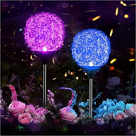 Amazon Com Solar Garden Lights Outdoor Upgraded Magic Globe Powered Garden Light Multi Color Changing Led Solar Stake Lights For Patio Backyard Pathway Party Decoration 2 Pcs Home Improvement