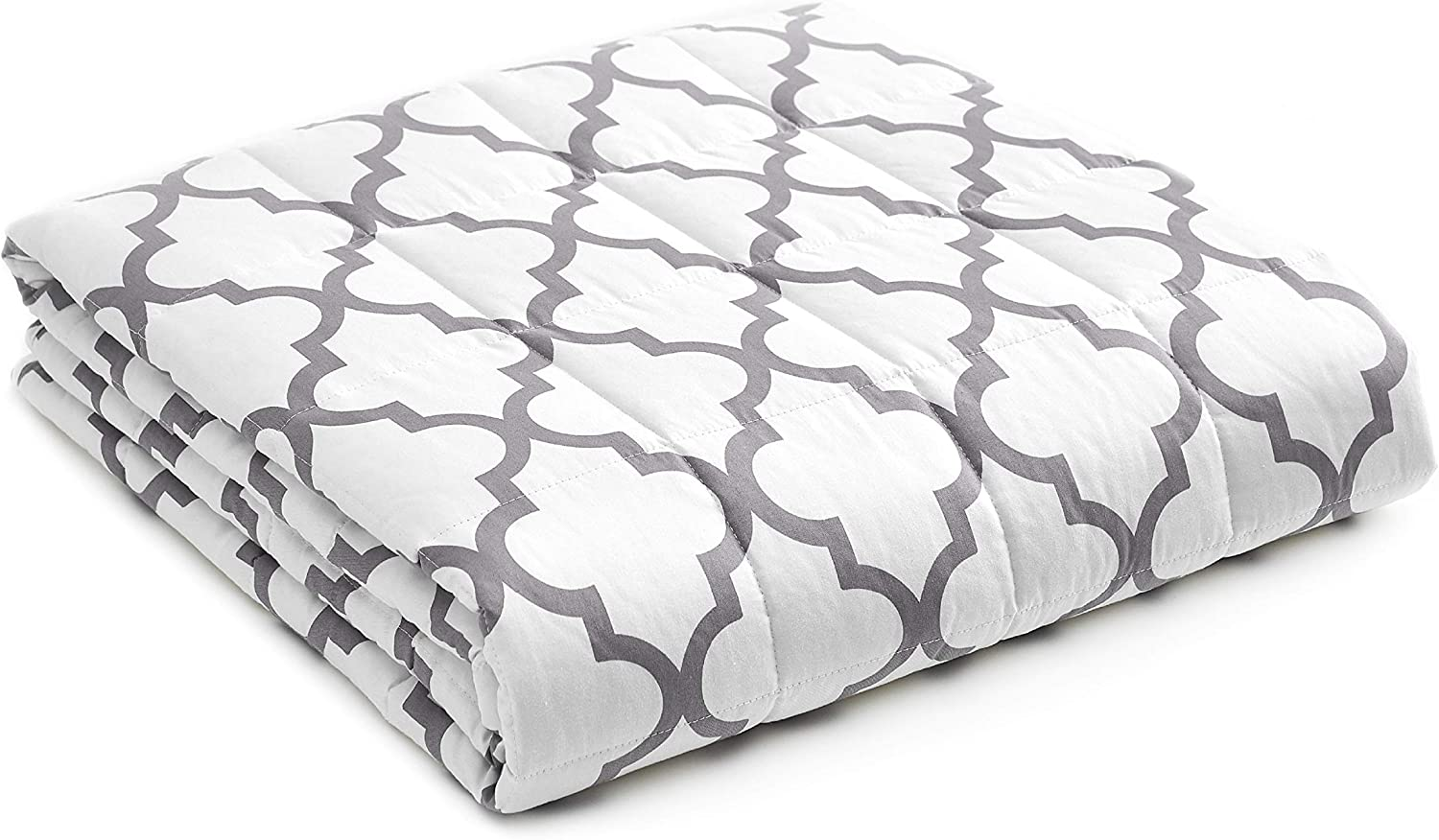 YnM Weighted Blanket — Heavy 100% Oeko-Tex Certified Cotton Material with Premium Glass Beads (Lattice Scroll, 80''x87'' 25lbs), Two Persons(110~190lb) Sharing Use on Queen/King Bed | A Duvet Included