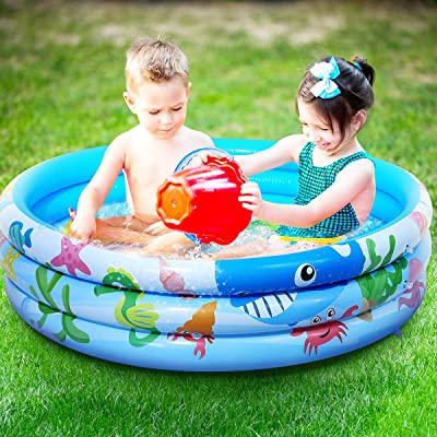 "iBaseToy 47""x11"" Inflatable Swimming Pool for Kids, 3 Rings Circles Inflatable Kiddie Pool for Summer Water Party, Water Baby Pool, Family Swimming Pool for Outdoor, Garden, Backyard, Ages 3+: Toys & Games"
