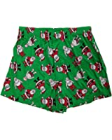 Mens Green Santa Claus Christmas Holidays Silky Boxer Shorts