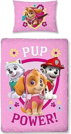 Biancheria da Letto per Bambina in Cotone Paw Patrol Colore: Rosa 40 x 60 cm 100 x 135 cm