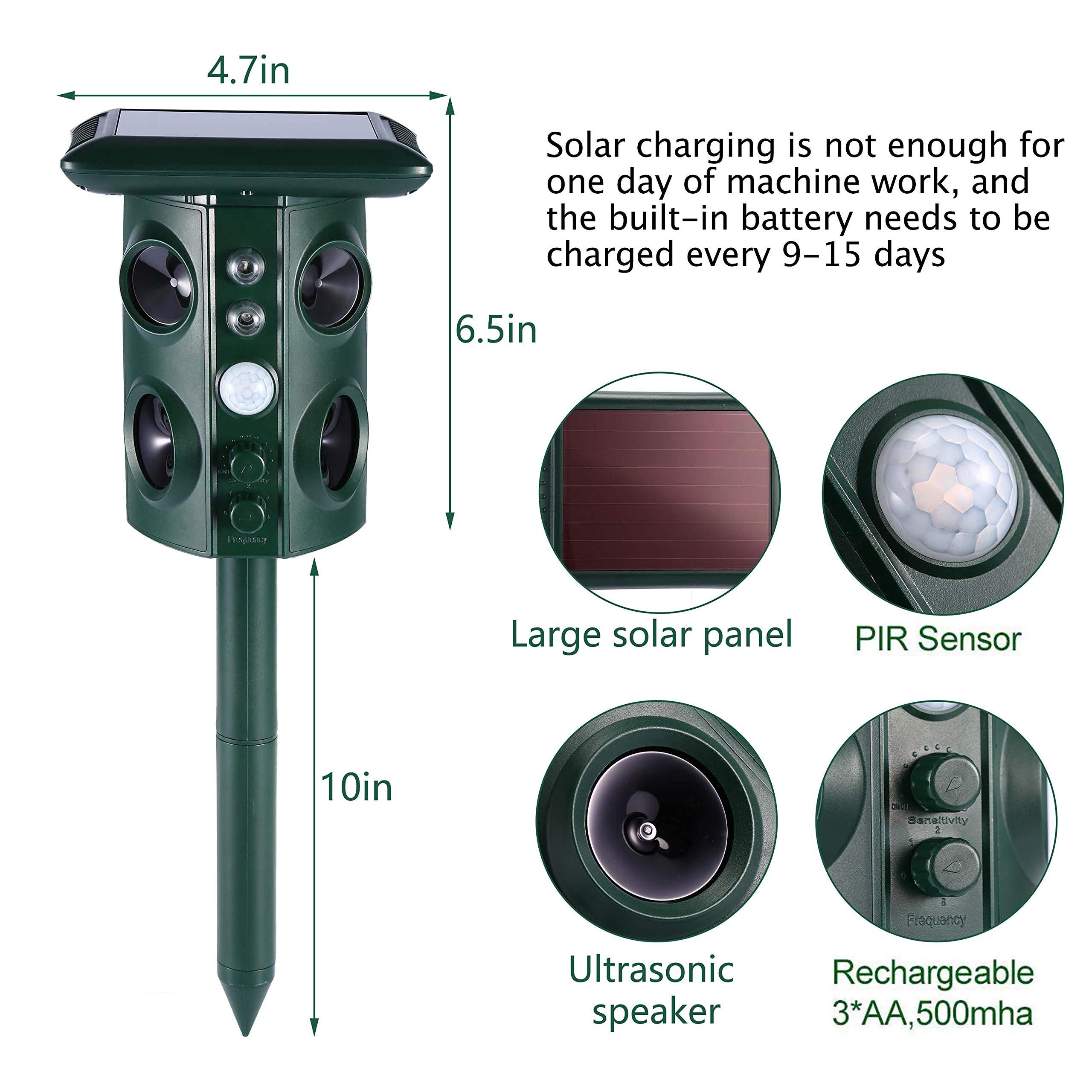 CamGO Ultraschall Tiervertreiber Solar und Batteriebetrieben Katzenschreck Tierabwehr Wasserdicht mit 4 Lautsprecher LED-Licht Umlaufsgang