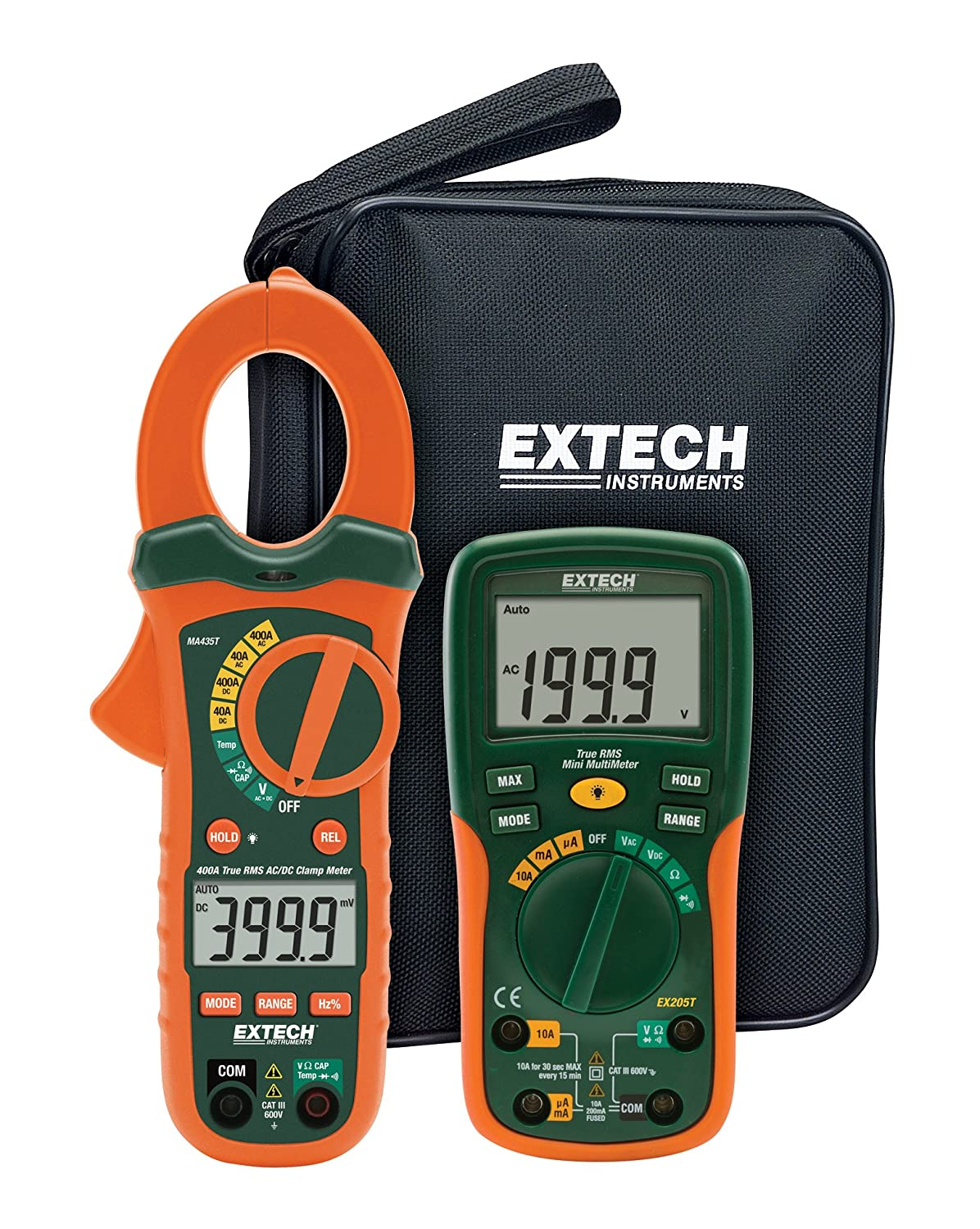 Extech ETK35 Electrical Test Kit with True RMS AC/DC Clamp Meter Extech Instruments