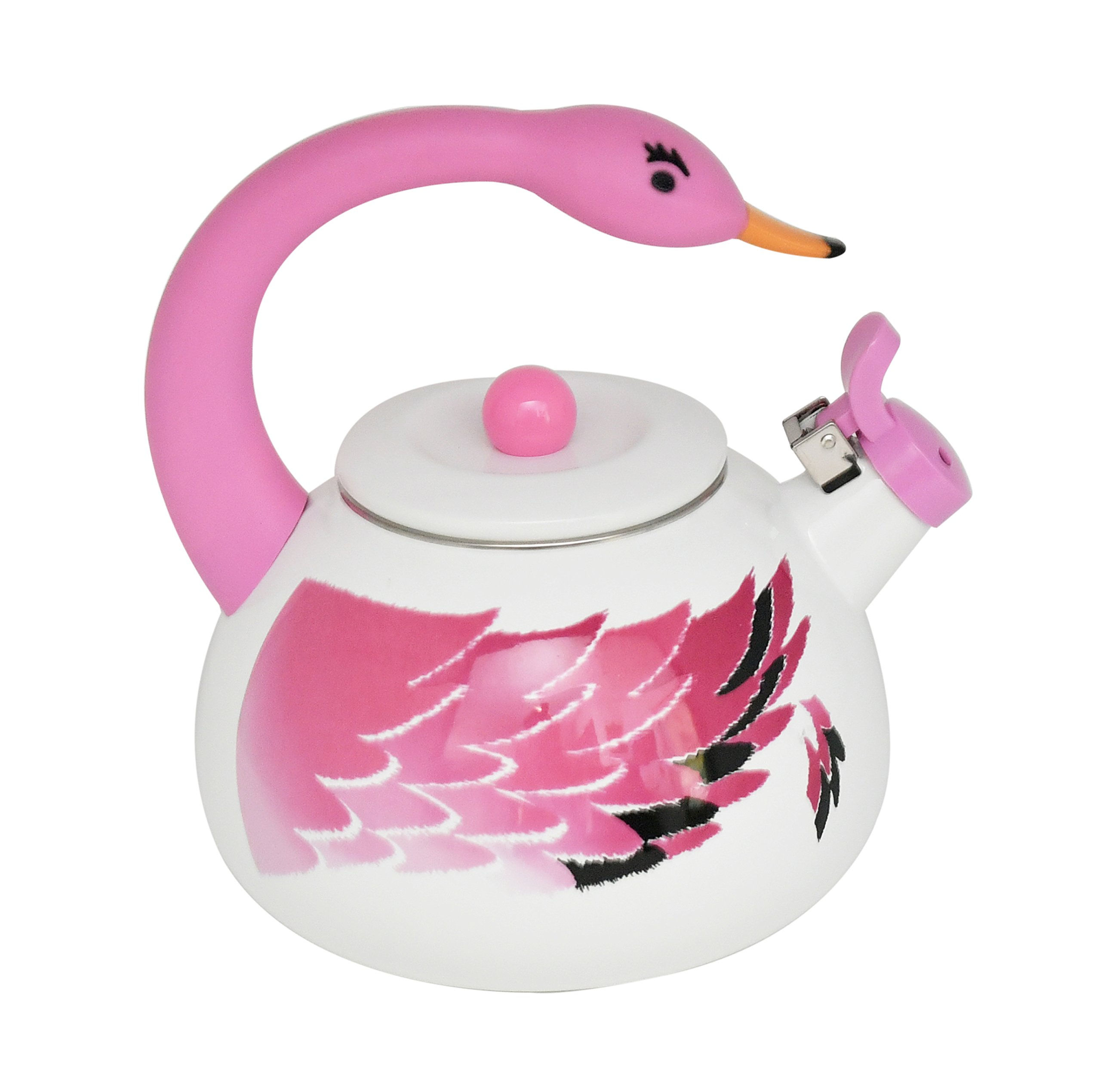 HOME-X Pink Flamingo Whistling Tea Kettle, Animal Teapot, Kitchen Accessories and Décor by Home-X