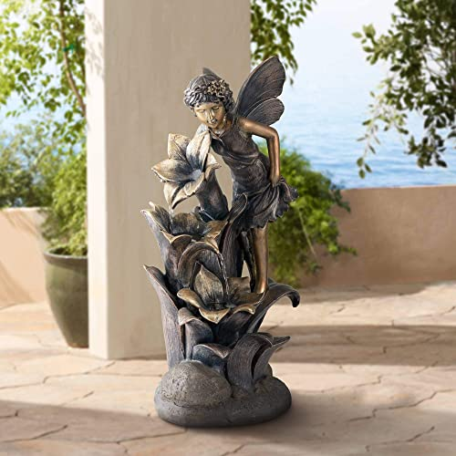 John Timberland Fairy and Flowers Outdoor Floor Water Fountain 26″ High Cascading