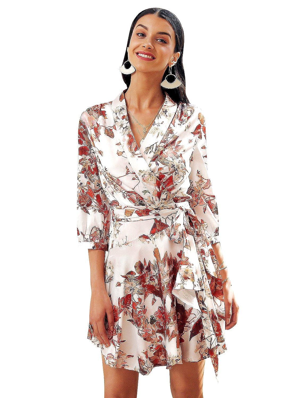 Missy Chilli Women\'s Elegant V Neck Floral Print Dress Long Sleeve ...