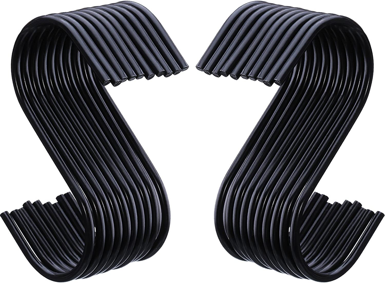 Outus 20 Pack Black S-Hooks S Hanging Hooks S Shaped Hooks S Hanger Hooks Kitchen Pot Pan Hooks