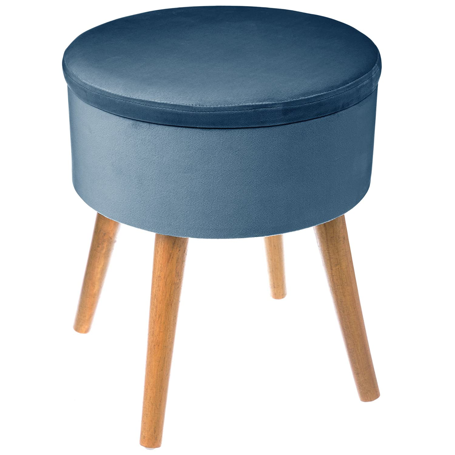 Marvelous Depotmania Large Round Pouffe Stool Storage Box Scandinavian Style Colour Air Force Blue Velvet Look And Feel Gmtry Best Dining Table And Chair Ideas Images Gmtryco